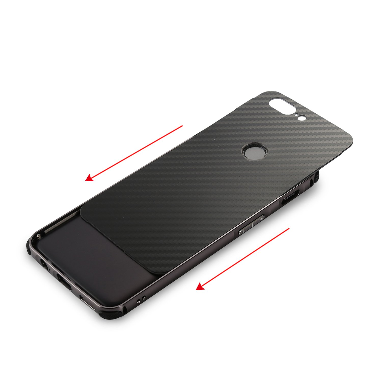 Oneplus 5T Case,DAMONDY Luxury Carbon Fiber Design Ultra thin Imitation Metal Brushed Premium Aluminum Shockproof Protective Bumper Hard Back Case Cover for OnePlus 5T (2017)-Gold by DAMONDY (Image #4)