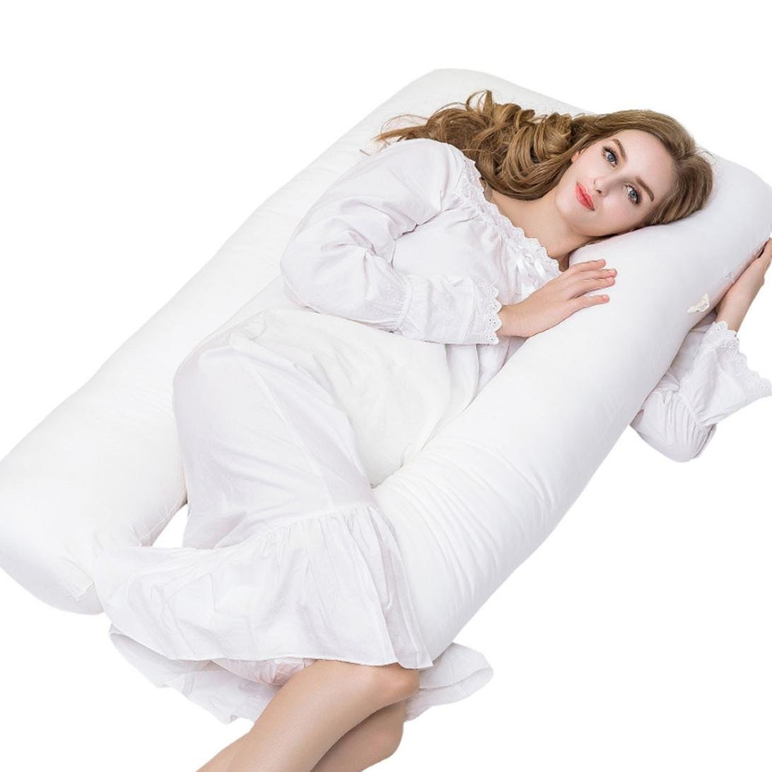 Livonic Full Body Pregnancy Pillow - U- Shaped Premium Maternity Pillow - Relieve Back Pain - Nursing Support - Washable Soft Removable Cover - 100% Cotton