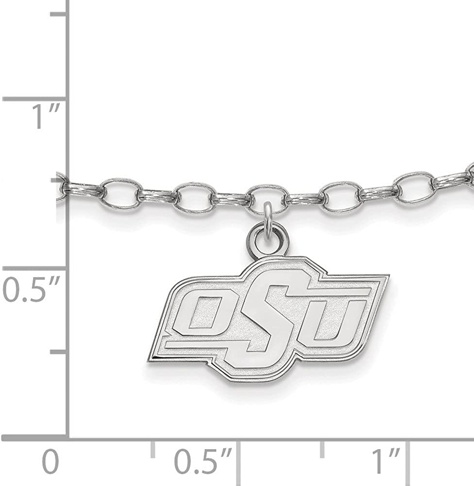 Jewel Tie 925 Sterling Silver Oklahoma State University Anklet 18mm with Secure Lobster Lock Clasp