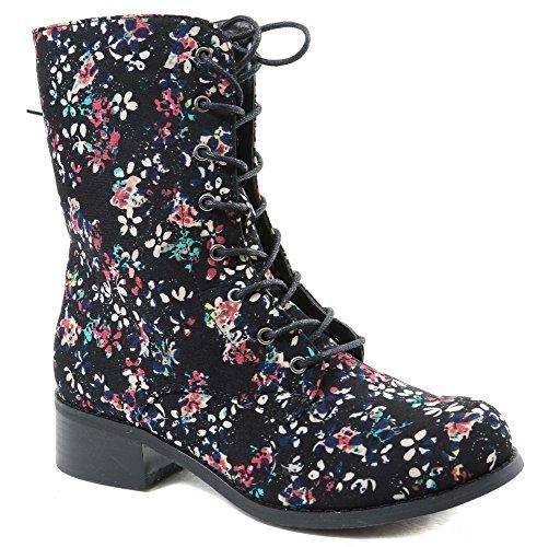 [Victorian Floral Black Lace Up Mid-calf Vegan Boots Black Women's] (Furry Boots Cheap)