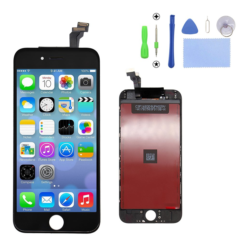 iPhone 6 Screen Replacement Black, LCD Display & Touch Screen Digitizer Frame Cell Assembly Set with Free Repair Tool for iPhone 6 4.7 Inch Black