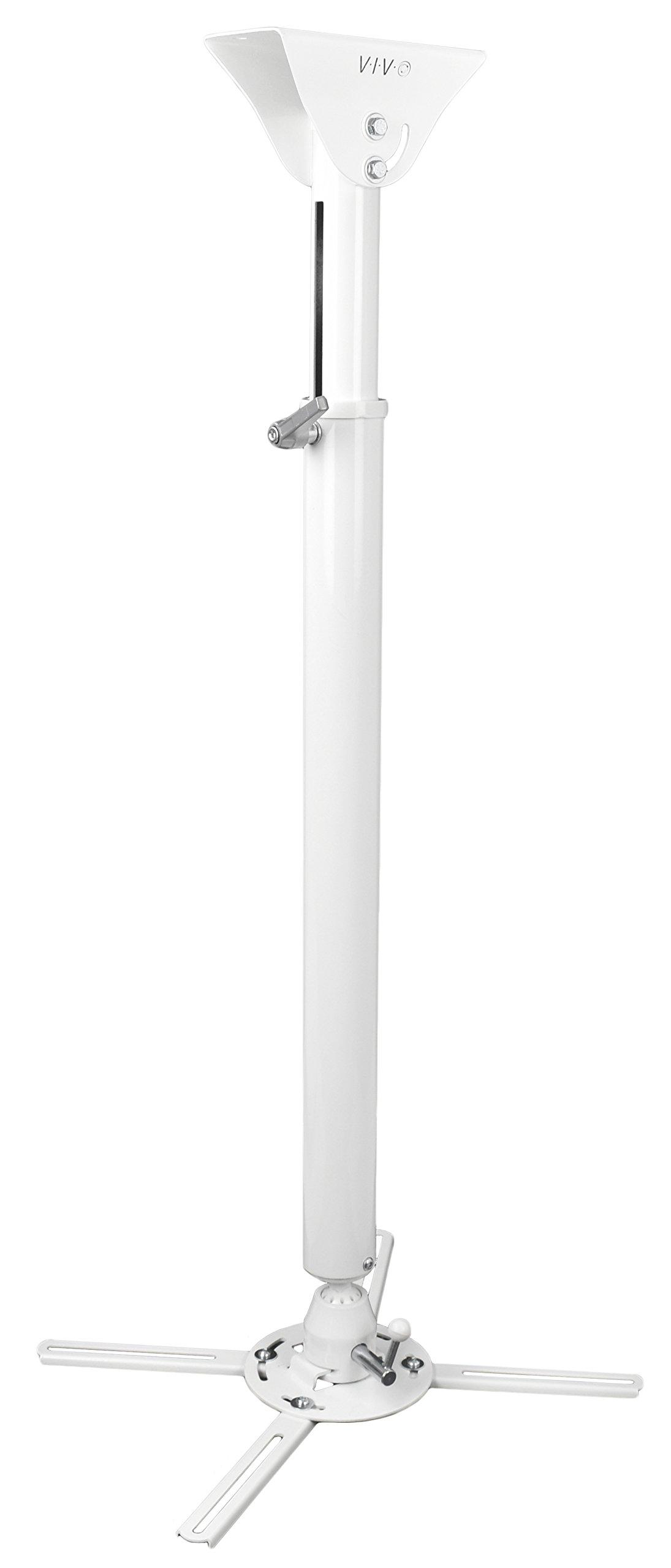 VIVO Universal Articulating Tilt Swivel Premium Heavy Duty Ball Joint Ceiling Extending Projector Mount Full Motion White (MOUNT-VP05W)