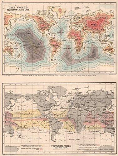WORLD. Equidistant Coastal Lines. Prevailing Winds. BARTHOLOMEW ...