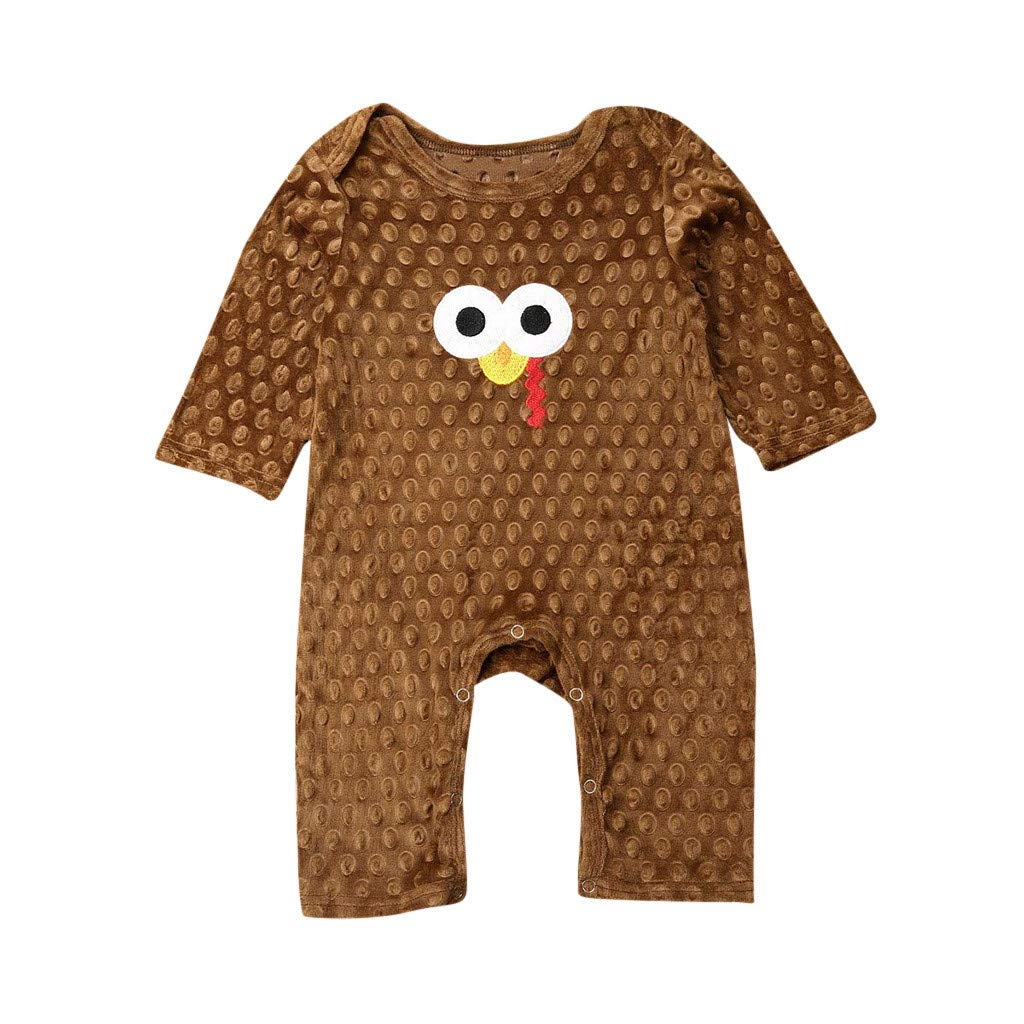 Janly Baby Romper for 0-24 Months Newborn Thanksgiving Day Jumpsuit Baby Boy Girl Turkey Print Bodysuit Infant Winter Clothes Outfits