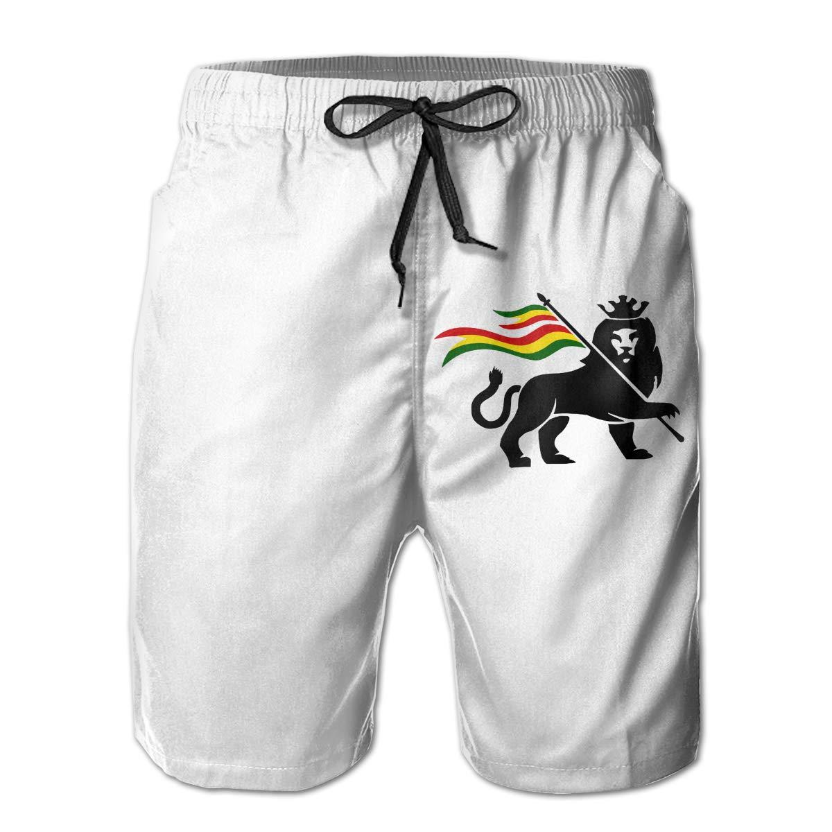 CCNXFGOK Rastafari Lion of Judah Boardshorts Mens Swimtrunks Fashion Beach Shorts Casual Shorts Swim Trunks