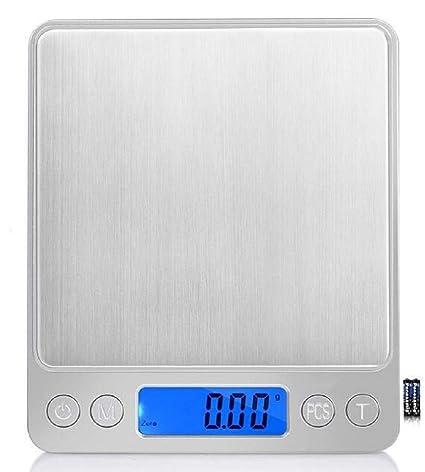 Eidyer Báscula Digital para Cocina, 3kg-0.1g, Batería incluida, 2 bandejas