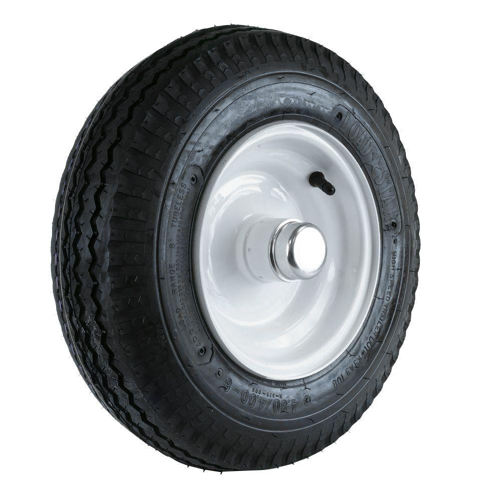 Martin Wheel 480/400-8 LRB Tire and Wheel with 1 in. Bearing for Log Splitter/Trailer