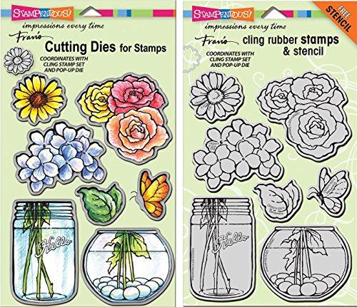 Stampendous Build a Bouquet Cling Stamp & Die Set - 2 Item (Build A Flower Bouquet)