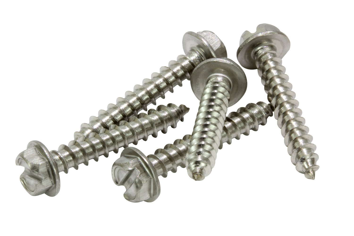 304 Stainless Steel Screw by Bolt Dropper #12 X 1-1//4 Stainless Slotted Hex Washer Head Screw, 25 pc 18-8