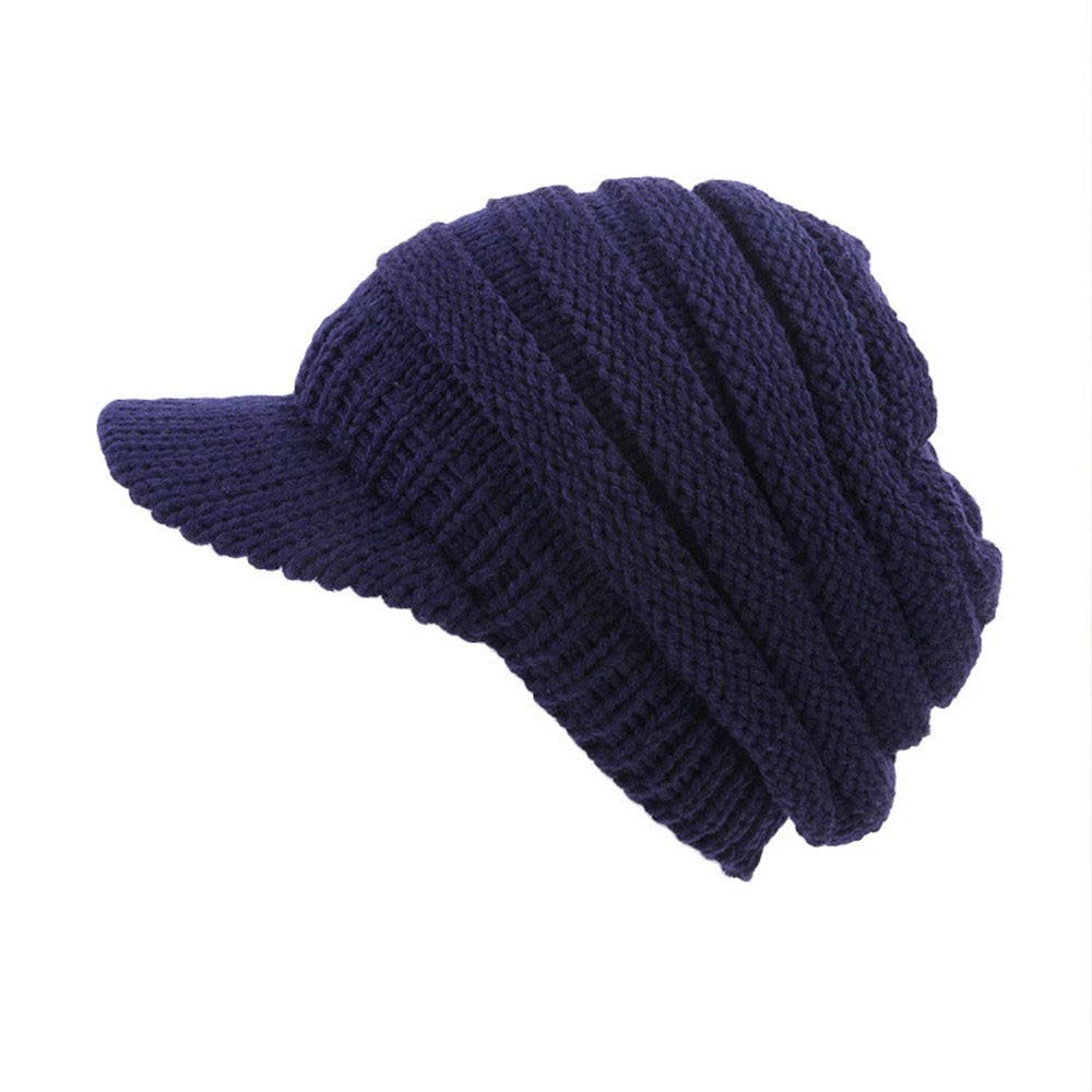 Princer Womens Winter Warm Knitted Hats Slouchy Beanie Hat Cap with Visor