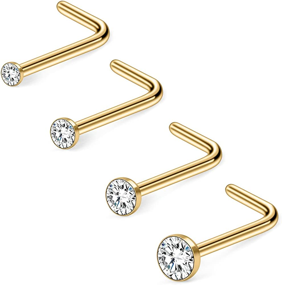 Ruifan 12-20PCS 18G Mix Color Stainless Steel Clear Diamond CZ Ball Flat Nose Bone Studs Rings Pin Piercing Jewelry 1.5mm 2mm 2.5mm 3mm
