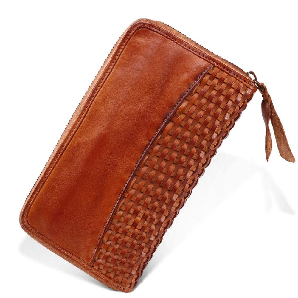 Myzixuan New Leather Mens Wallet Retro Handmade Business Multi-Card Fashion Casual Weaving Mens Wallet 22122.8cm