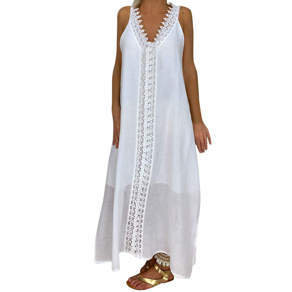 Peize Women's Sleeveless Dress Summer Long Maxi Evening Party Dress Beach Dresses Sundress Party Bodycon Lace Long Dress