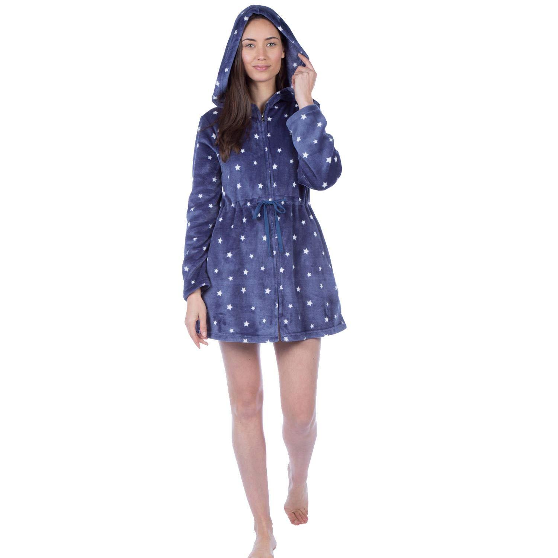 Masq Womens/Ladies Fleece Star Zip Front Hooded Robe/Dressing Gown Grey Size 8-18 LN000812