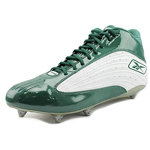 REEBOK OUTSIDE SPEED MID D MENS FOOTBALL CLEATS WHITE & GREEN 12