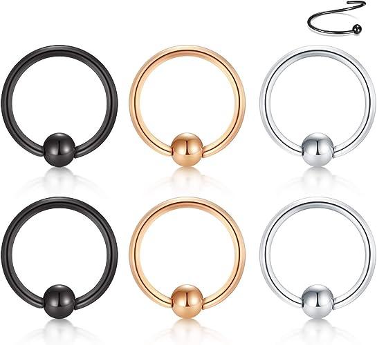 Amazon Com Vcmart Nose Hoop Cartilage Earring 16g 6mm 316l