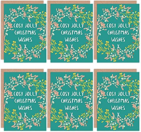 Wee Blue Coo Christmas Cards 6 Pack - Cosy Jolly Wishes Mistletoe Set Xmas Cards Cristo: Amazon.es: Hogar