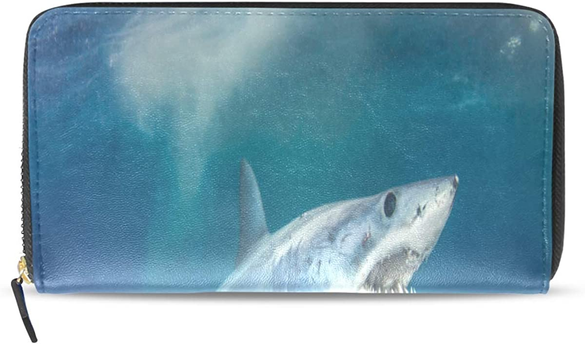 Fierce Awful Shark Long Passport Clutch Purses Zipper Wallet Case Handbag Money Organizer Bag Credit Card Holder For Lady Women Girl Men Travel Gift