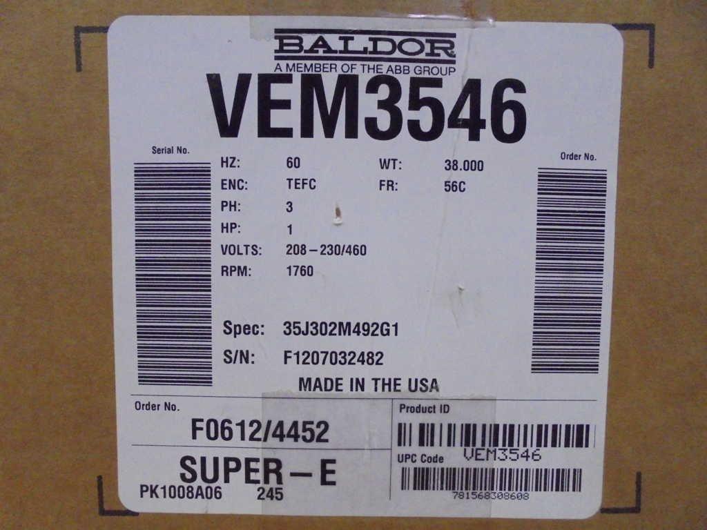 Motor, 3-Ph, TEFC, 1 HP, 1760 RPM, Face