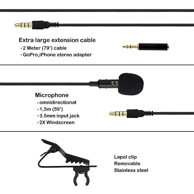 Amazon.com: Upgraded Lavalier Lapel Microphone, Omnidirectional Condenser Mic for Apple iPhone iPad Mac Android Smartphones, Youtube, Interview, Studio, ...