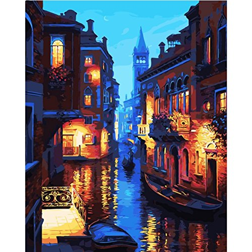 Yalatan DIY Oil Painting Paint By Number Kits Sets-Water - Place Stores Water In Tower