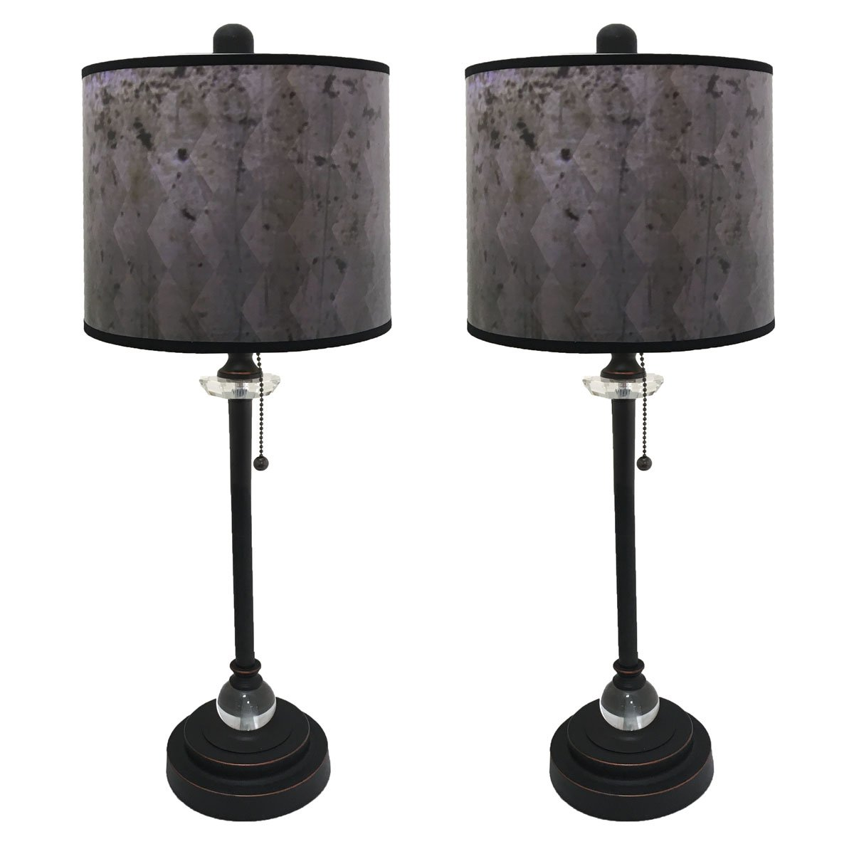Royal Designs 28'' Crystal and Oil Rub Bronze Buffet Lamp with Black Snakeskin Diamond Design Hard Back Lamp Shade, Set of 2 by Royal Designs, Inc