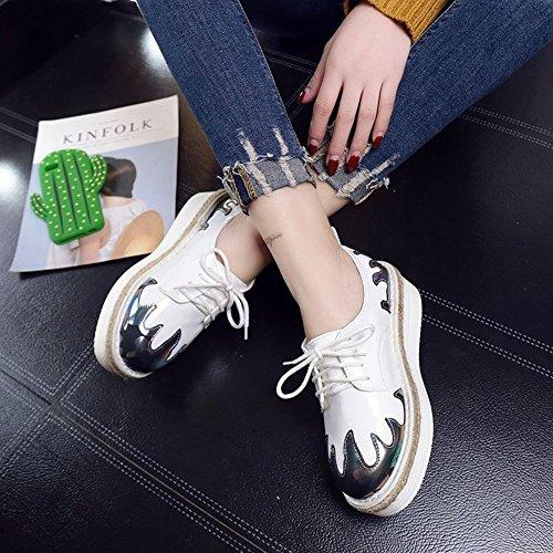 Británico Solo Zapatos Femeninos Todo el Partido Amortiguado Grueso Cordón Inferior Dentro de Los Zapatos Planos de Aumento , azul , EUR37