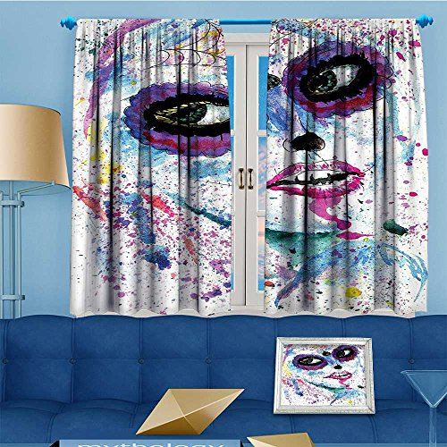 Mikihome Pattern Decor Artistic Window Curtain Halloween Lady Sugar Skull Make up Creepy Dead Face,Living Room Bedroom Decorations, 55