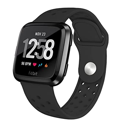 SWEES Silicone Bands Compatible Fitbit Versa Smartwatch, Sport Breathable Air Holes Band Replacement Women Men Small & Large (5.7