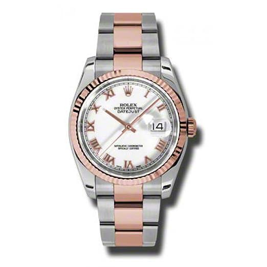 Rolex Datejust 36 acero oro rosa reloj esfera de color blanco diamante 116231: Rolex: Amazon.es: Relojes
