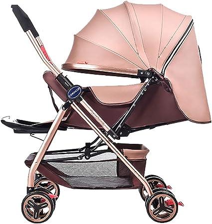 Couleur : Pink Poussettes JCOCO B/éb/é l/éger Portable Haute Paysage Peut sasseoir et Se Coucher Pliable poign/ée Simple Suspension r/éversible n/éonatale Buggy b/éb/é Chariot