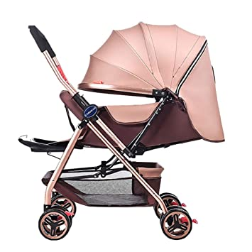 Yhz@ Cochecito de bebé Ligero Portable High Landscape Puede Sentarse y acostarse Plegable Simple Handle Reversible Suspension Neonatal Buggy Baby Trolley ...