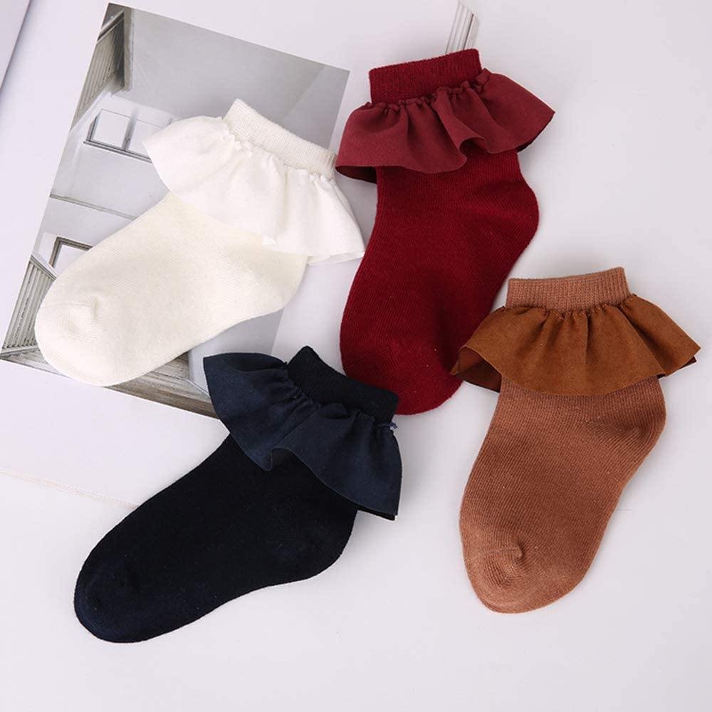 Fliyeong Girls Comfortable Vintage Lace Ruffle Frilly Ankle Socks Baby Sweet Princess Socks Stylish and Popular