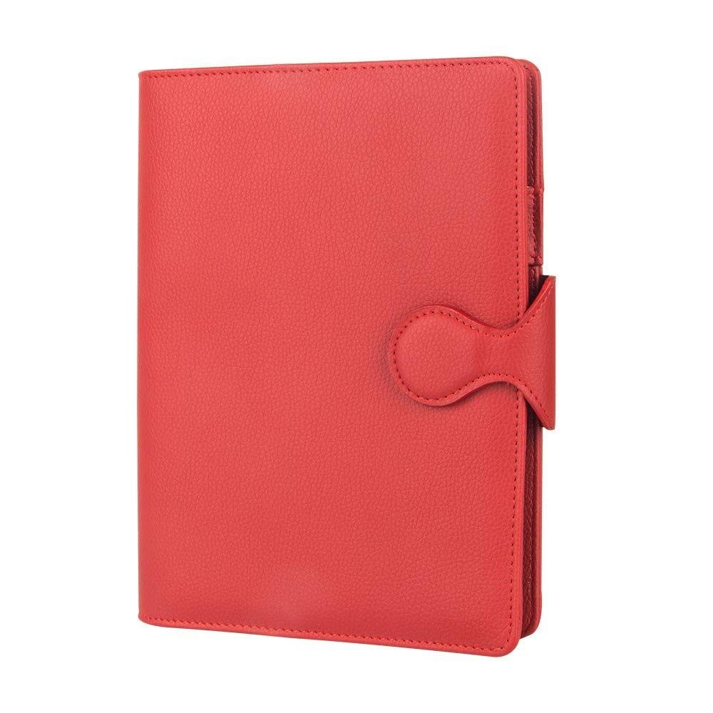 Refillable A5 Business Notebook with Pen Holder and Card Slot, Leather Multifunction Loose Leaf Design Notepad Stationery, Conference Record Book (Color : Red)