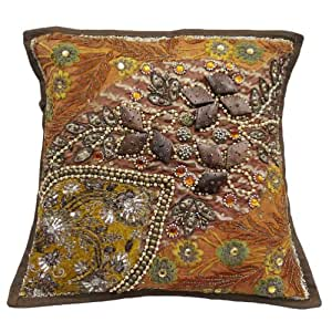 """Orange Cushion Cover Embroidered Patchwork Pillow Case Home Decor Throw 16"""" Inches"""