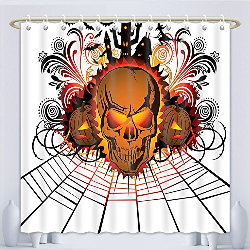 (Amsome Unique Custom Shower Curtains Halloween Decorations Collection Angry Skull Face On Bonfire Effect Spirits Of Other World Concept Ba Polyester Fabric Shower Curtain For Bathroom, 55 x 72)
