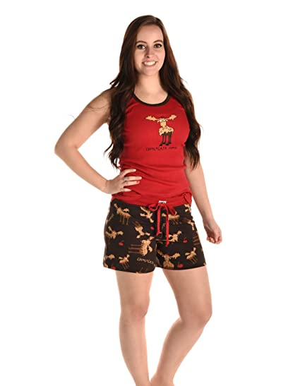 dc2fed9cf442 Lazy One TT776 HB776 Women s Chocolate Moose Red and Brown Pajama Short  Pyjama Set Small