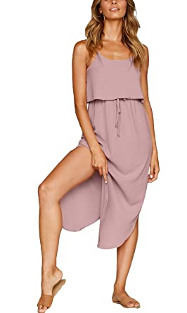 9452abd4881e NERLEROLIAN Women s Adjustable Strappy Split Summer Beach Casual Midi Dress(shenfen  ...