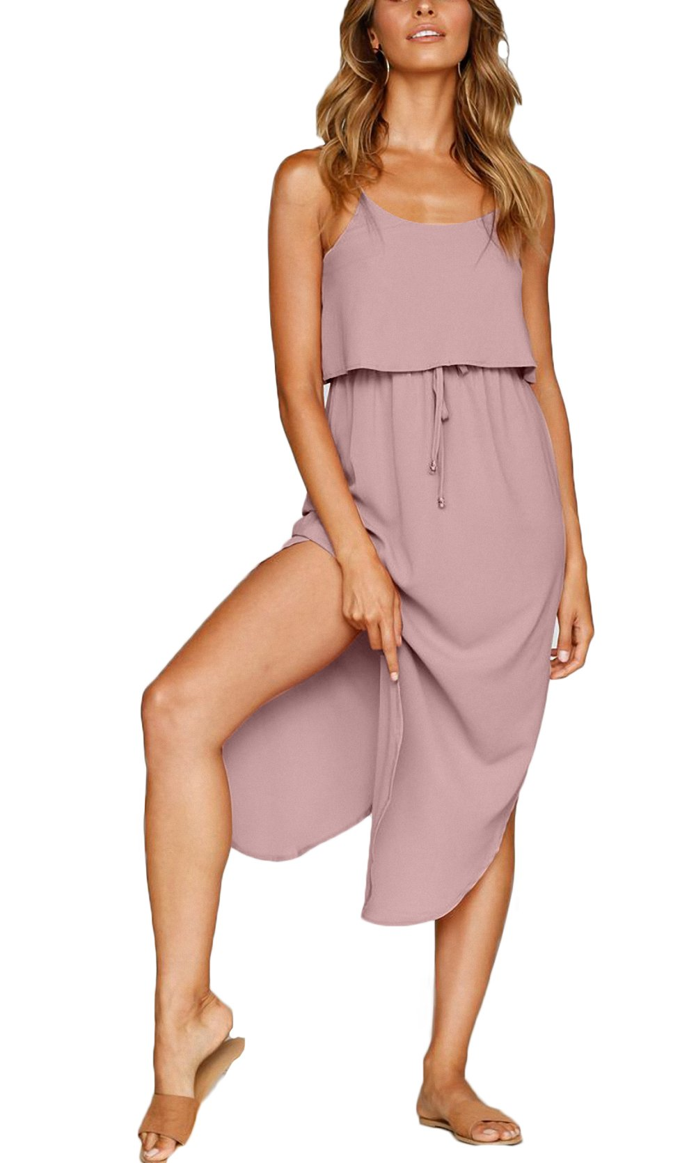 NERLEROLIAN Women's Adjustable Strappy Split Summer Beach Casual Midi Dress(shenfen,M)