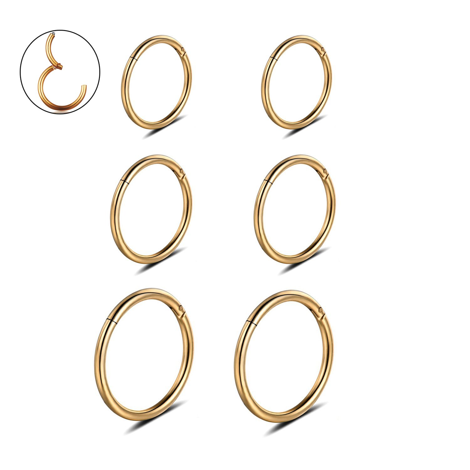 16G Stainless Steel 3 Pair Sleeper Earrings Clicker Nose Lip Ring Body Piercing for Mens Womens by Monily