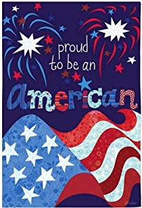 Jolly Jon Proud to Be an American - 4th of July Garden Flag - Memorial Day Patriotic Yard Decor - Celebrate Veterans USA America Pride