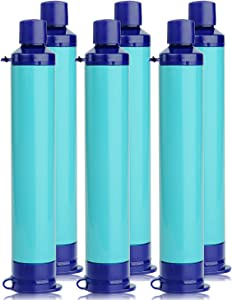 Membrane Solutions Straw Water Filter Survival Filtration Portable Gear Emergency Preparedness Supply for Drinking Hiking Camping Travel Hunting Fishing Team Outing