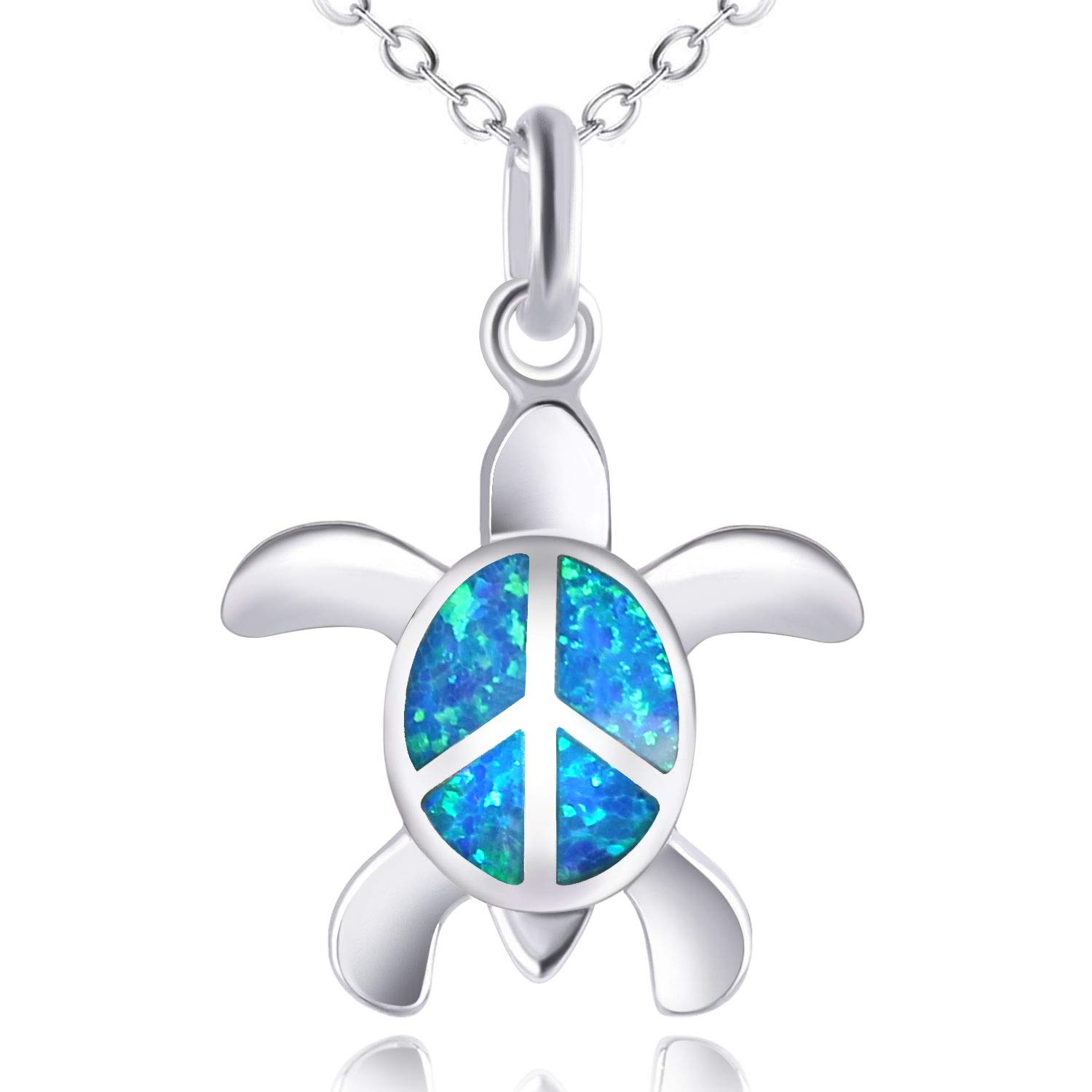 KELITCH Peace Sea Turtle Choker Necklaces Longevity Created Opal Pendant Necklaces Birthstone Jewelry (Blue)