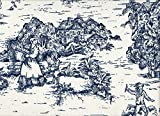 French Country Toile Nautical Blue 90'' Round Tablecloth Cotton