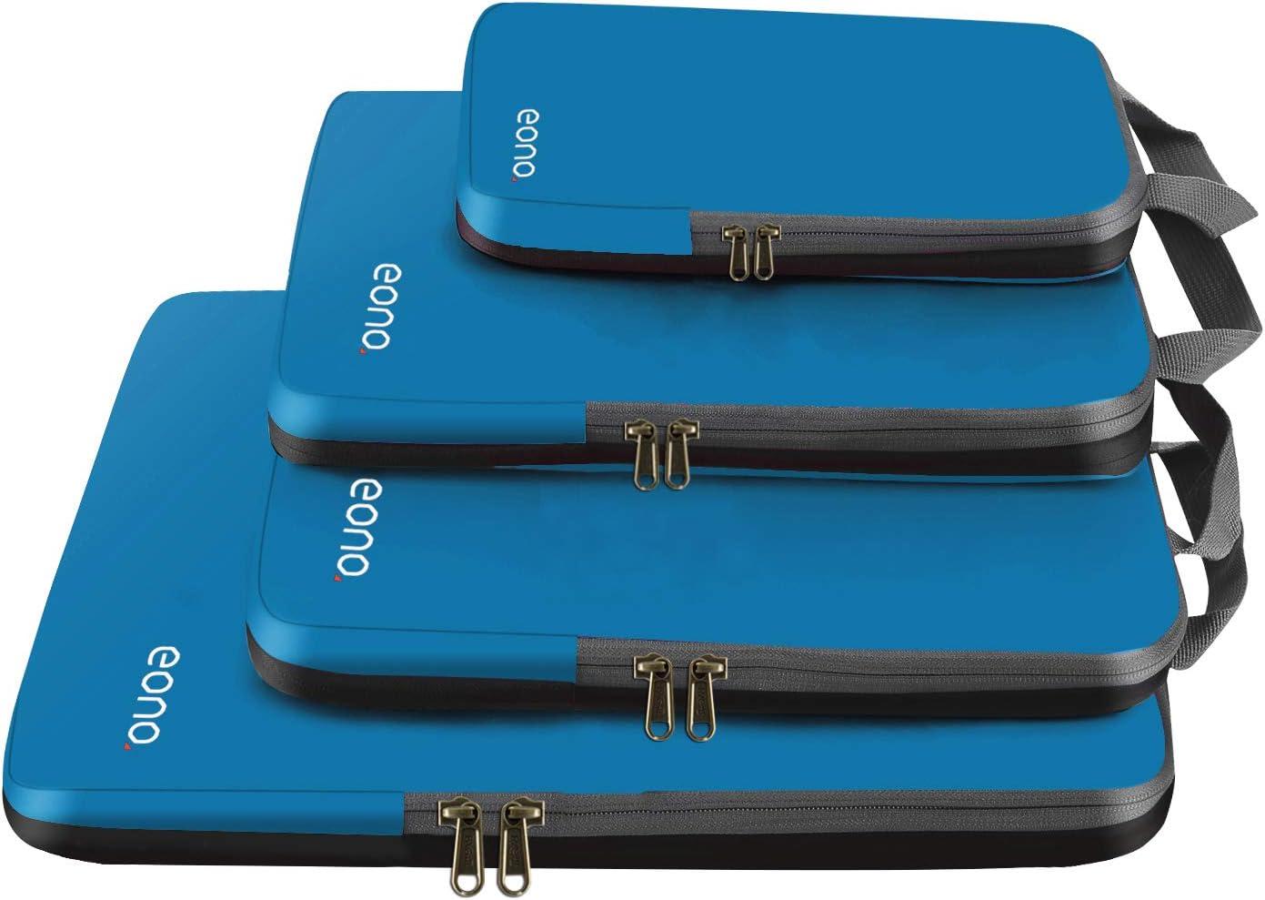 Eono by Amazon - Organizadores de Viaje de compresión expandibles, Impermeable Organizador para Maletas, Organizador de Equipaje, Cubos de Embalaje, Compression Packing Cubes, Azul Oscuro, 4 Set
