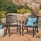 Great Deal Furniture Myrtle Beach Outdoor Shiny Copper Finished Aluminum Dining Chairs (Set of 2) For Sale