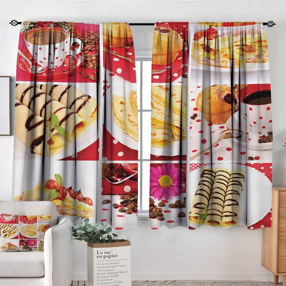 All of better Coffee Waterproof Window Curtain Sweet and Salted Treats Photo Muffins Cupcakes Coffee Beans Collage Artwork Photo Bedroom Blackout Curtains 72'' W x 63'' L Multicolor by All of better