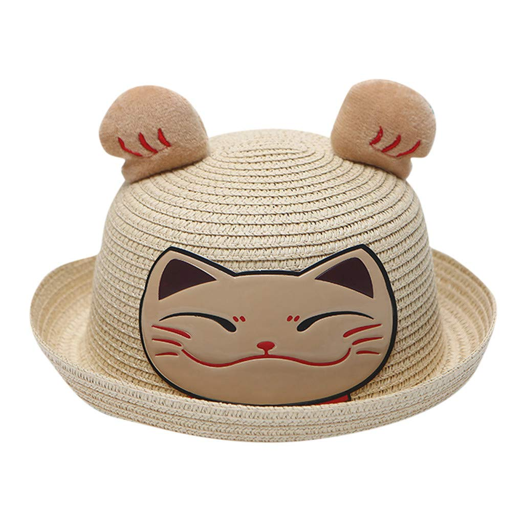 Wesracia Baby Girls Cute Hat Sun Protection,Breathable Soft Straw Hats Cartoon Kitty Hat with Ears 6~24 Months Old (Beige)