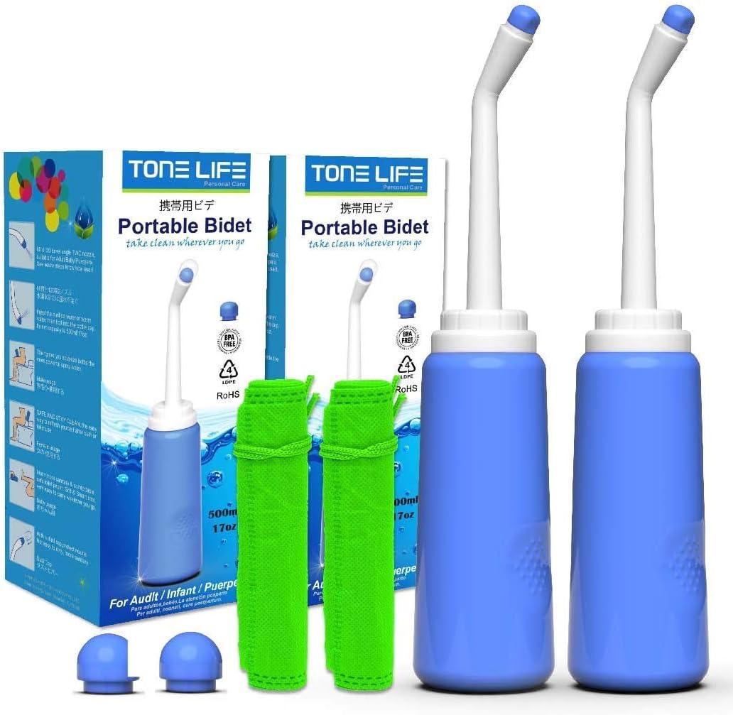 2PCS-Pack Bidet portátil 500ml 17oz- Pulverizador de bidé de Viaje- Botella de Inodoro de Viaje con | 2 boquillas + Tapa Antipolvo | para Uso del Controlador Audlt Child Puerpera: Amazon.es: Deportes