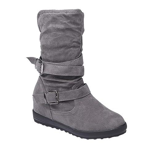 Tenthree Zapatos para Mujer Botas de Nieve - Antideslizante Hebilla Plataforma Tacón de Cuña Forrado de Piel Baja Biker Trim Botines Planos Calentar ...